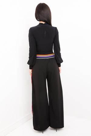 Multi Stripe Trim Popper Button Trousers
