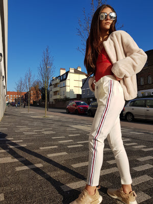 Tara Red Striped White Trousers