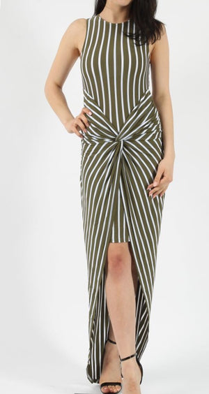 Striped Knot Twist Dress