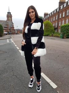 Faux Fur Luxury Gilet Black And White