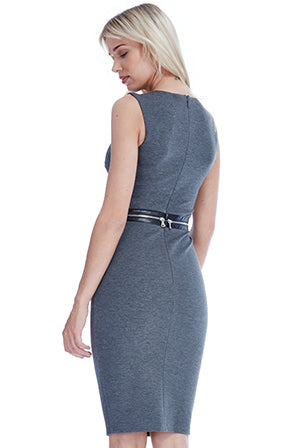 SLEEVELESS FITTED MIDI DRESS WITH ZIP DETAIL