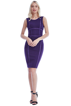 BODYCON MIDI DRESS WITH LINE DETAIL