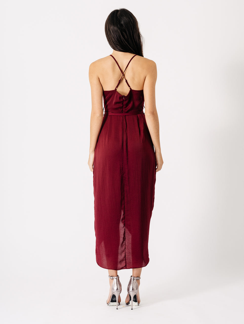 Wrap Front Midi Dress in Wine