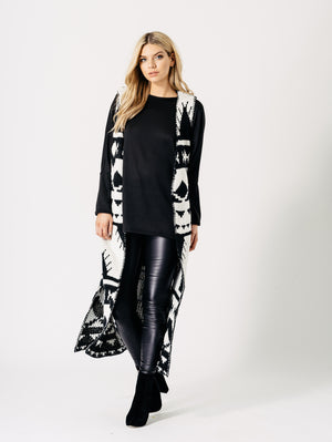 Black and White Monochrome Aztec Stitched Blanket Sleeveless Cardigan
