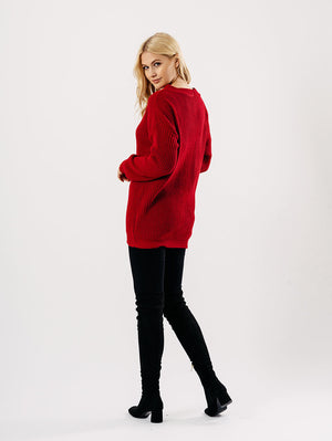 Red Oversized Knitted Jumper Dresses