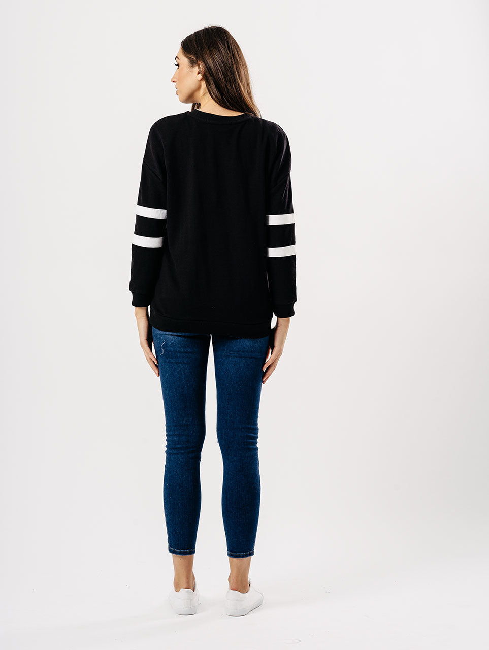 Black Sports Luxe Two Stripe Sleeve Jumper