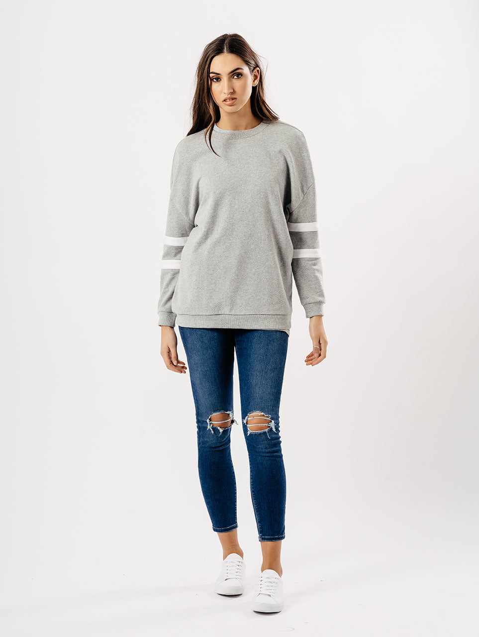 Grey Sports Luxe Two Stripe Sleeve Jumper