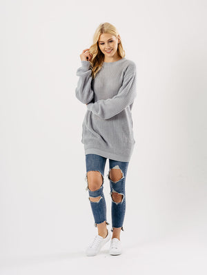 Grey Oversized Knitted Jumper Dress