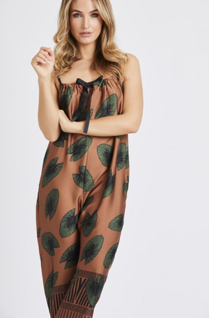 Tie Front Leaf Print Jumpsuit Brown