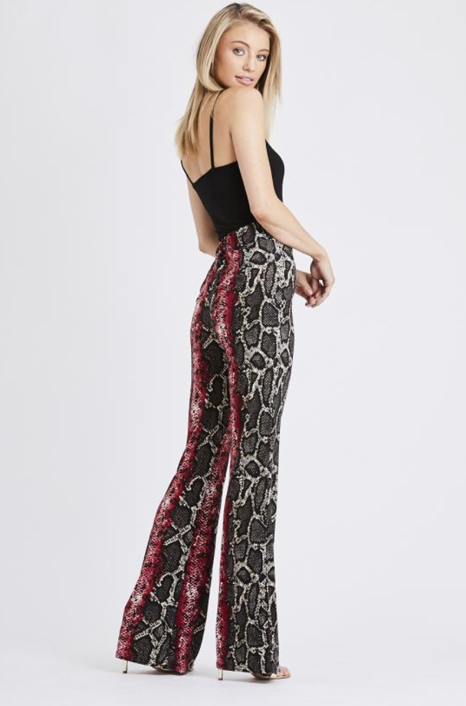 Snake Print Trousers Burgundy