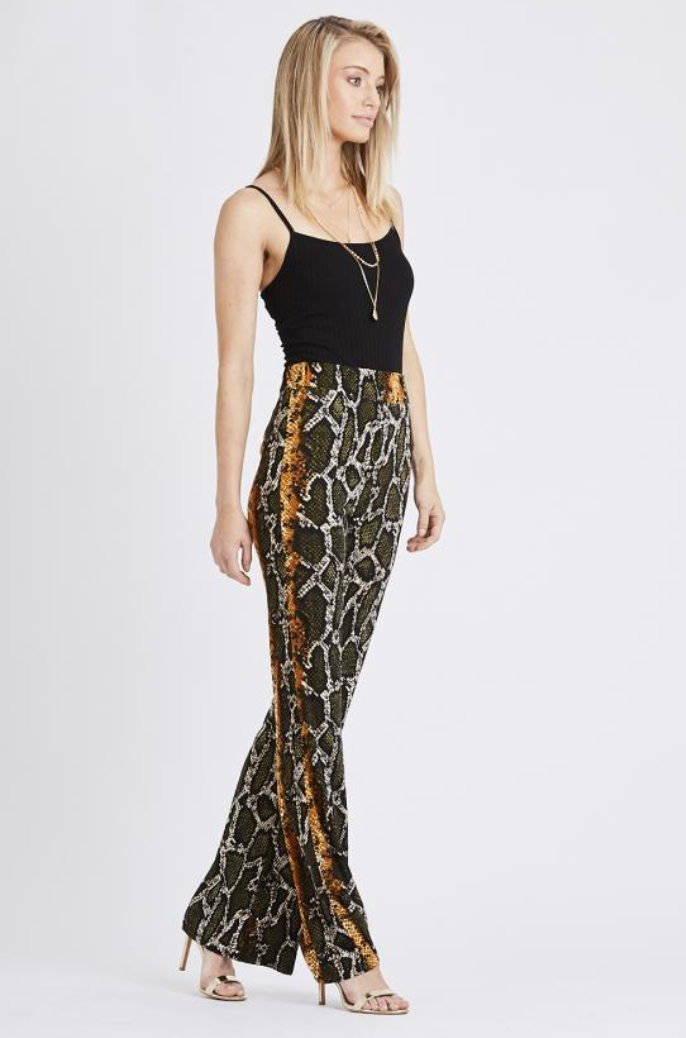 Snake Print Trousers Mustard