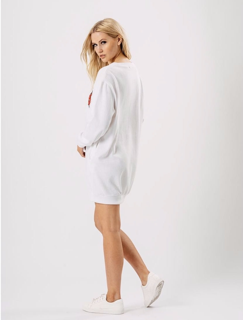 Cream Embroidered Oversized Jumper Dress