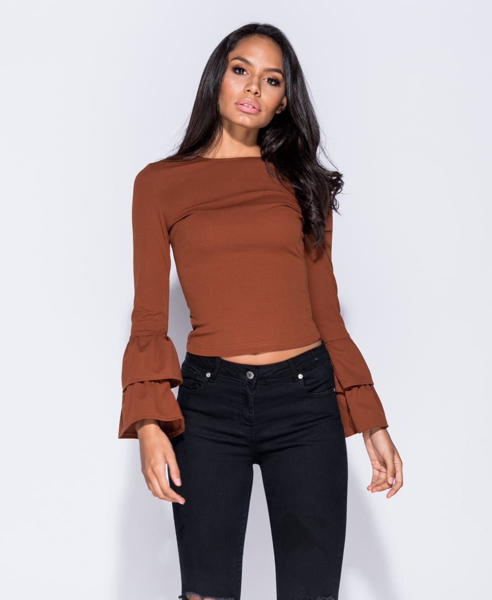 Bell Sleeve Round Neck Top