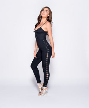 Black Denim Lace Up Detail Jumpsuit