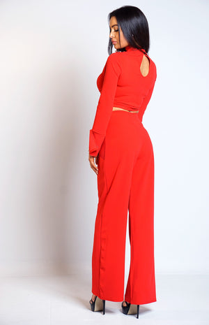 Roxie Red Button Detail Two Piece Set
