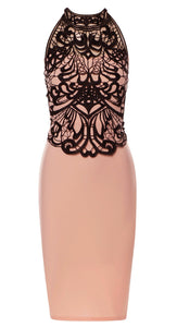 Shania Nude Crochet Halter Neck Midi Dress