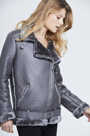 Faux Fur Lined Aviator Jacket