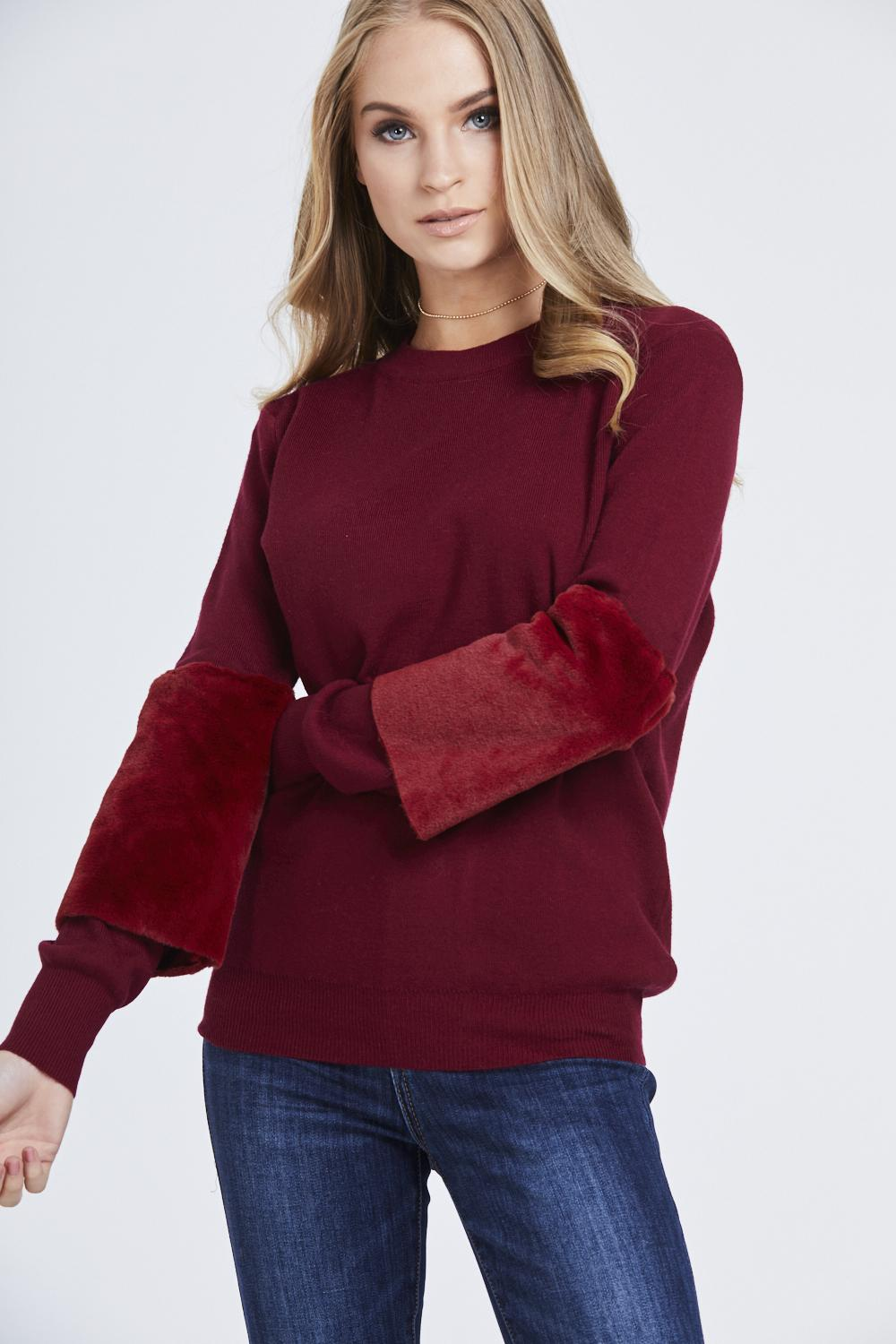 Faux Fur Panel Sleeve Jumper