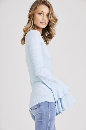 Flared Sleeve Ribbed Top
