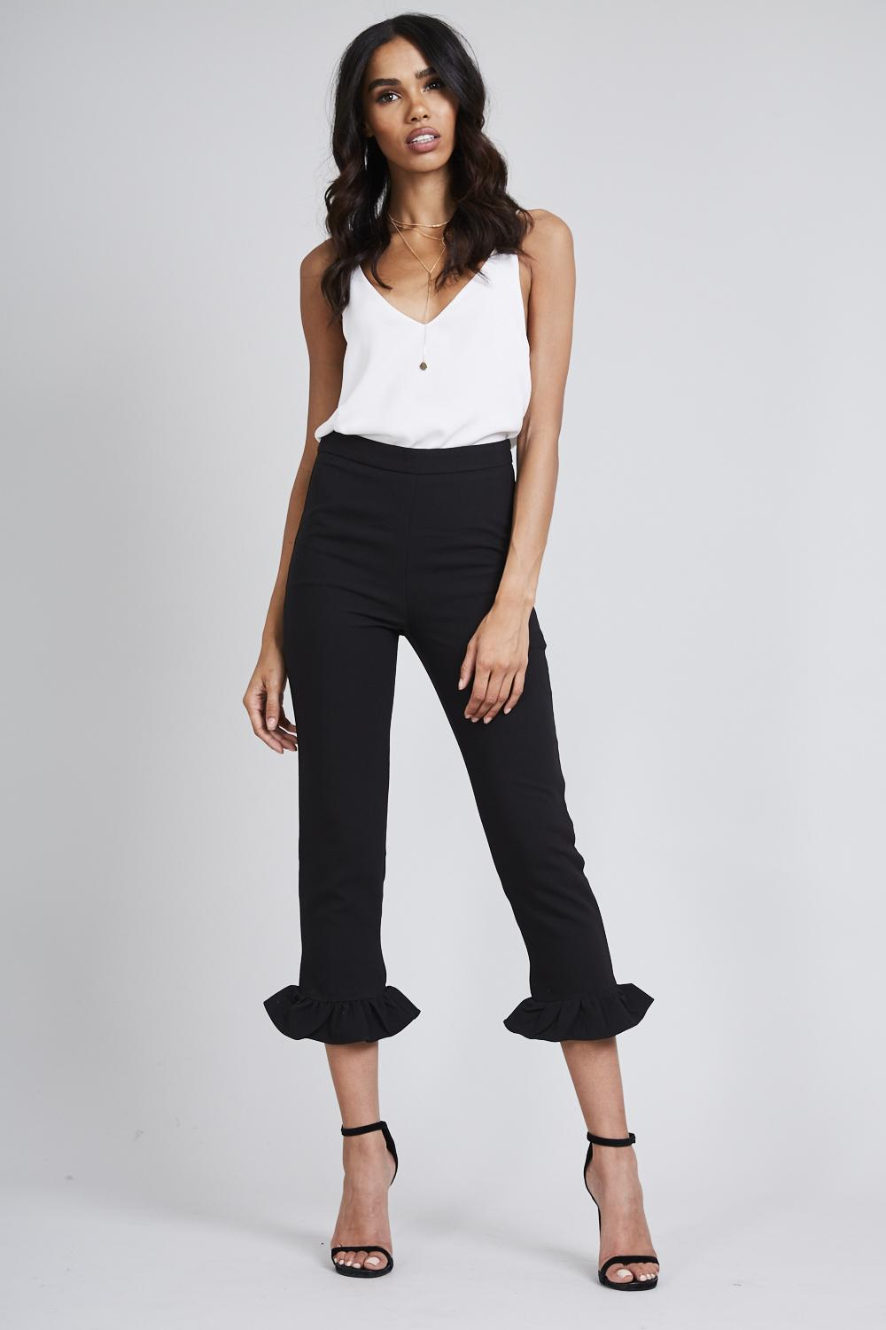 Frill Bottom Side Zip Trousers