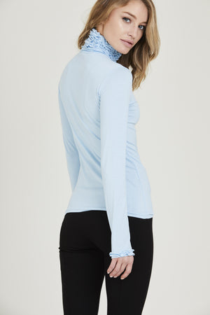 Ruffle Neck Long Sleeve Top