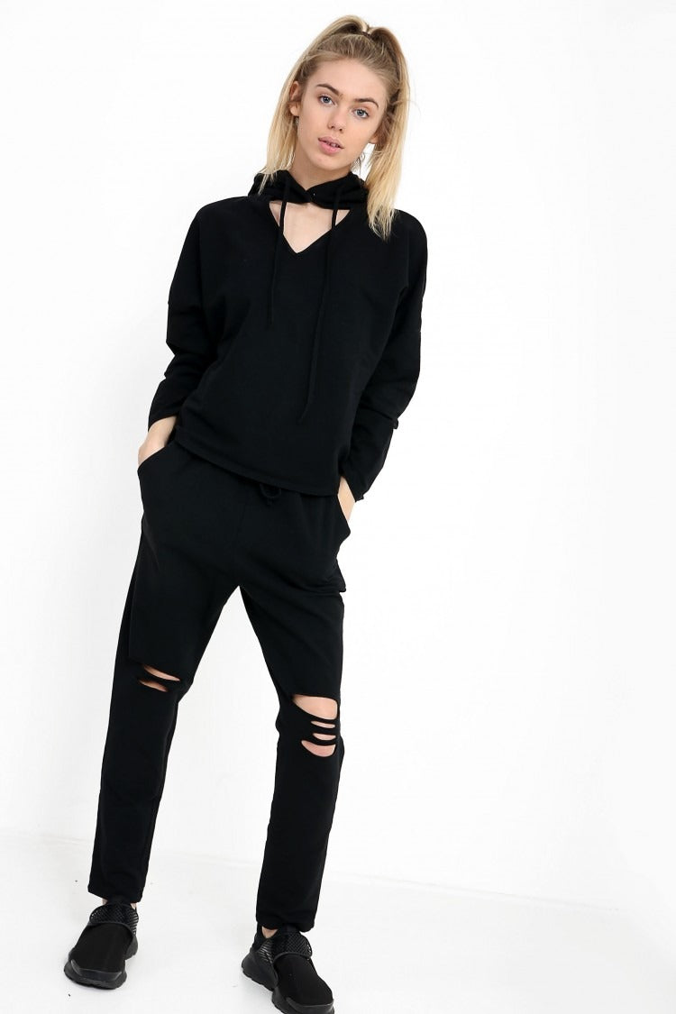 Choker Neck Hooded Top And Bottom Loungewear