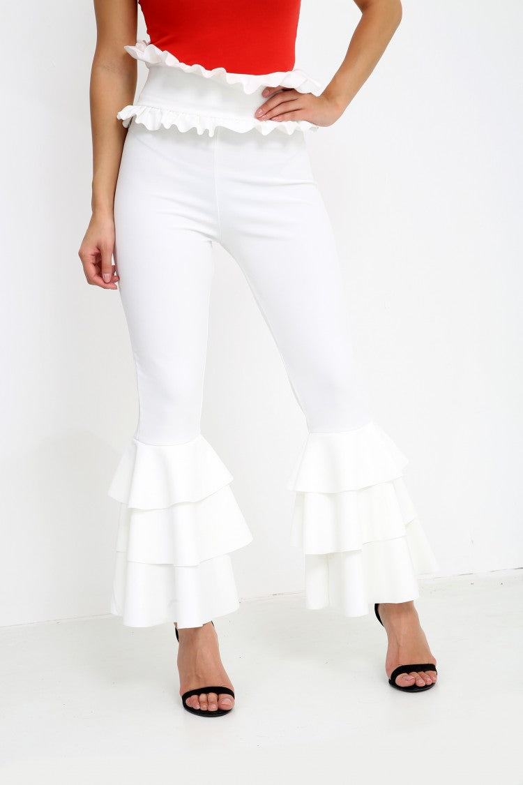 Multi Layered Ruched Frill Trousers