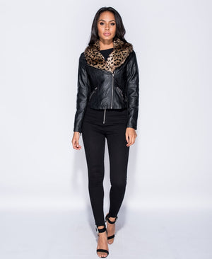 Leopard Faux Fur Collar PU Biker Jacket