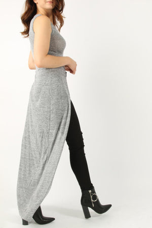 KNITTED FRONT SLIT MAXI TUNIC