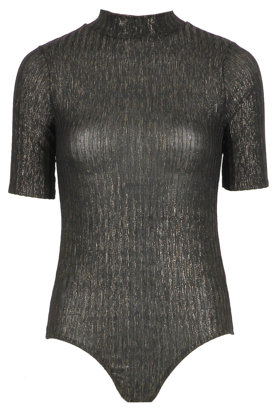 Metallic Ribbed Bodysuit