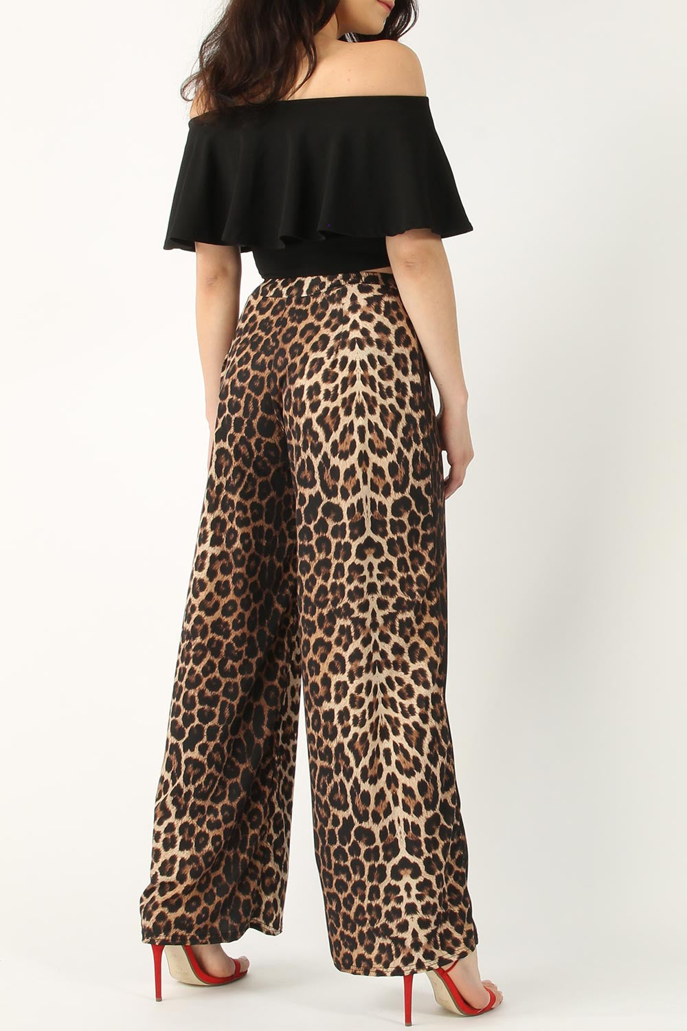 LEOPARD WIDE LEG TROUSERS