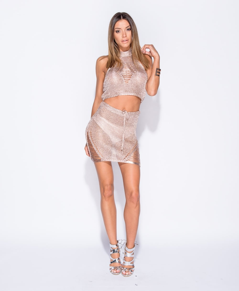 Metallic Rose Gold Knitted Co Ord Set