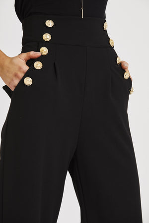 Military Style High Waist Trousers