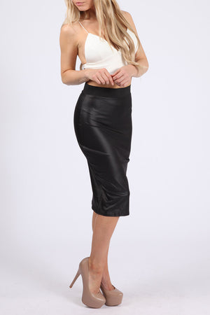 WET LOOK MIDI PENCIL SKIRT