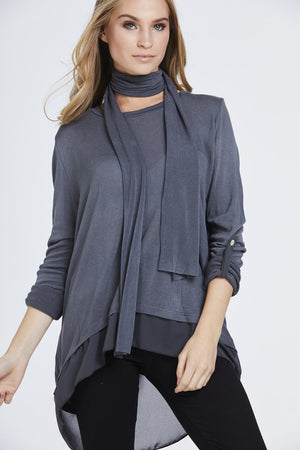 Chiffon Button Back Scarf Top