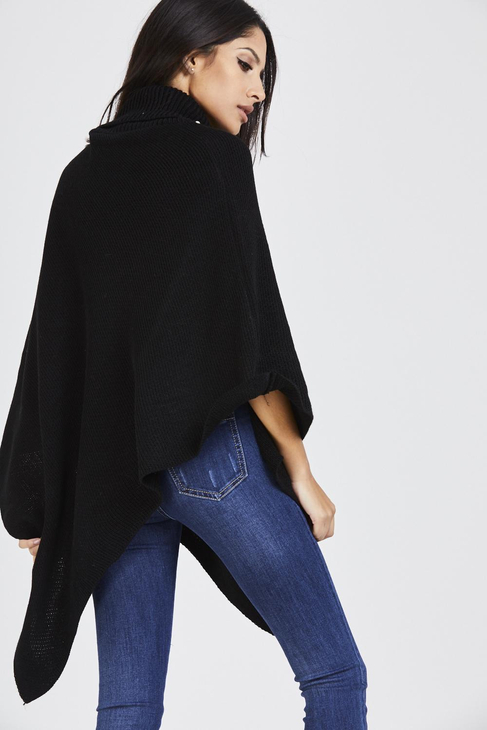 Pearl Embellished Collar Poncho