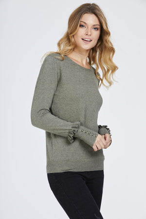 Frill Cuff Beaded Sleeve Top