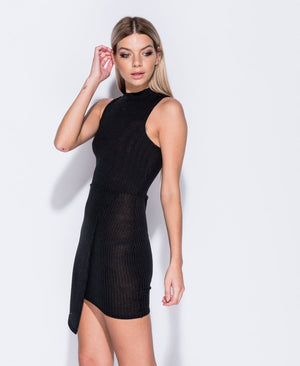 Rib Asymmetric Hem Mini Dress