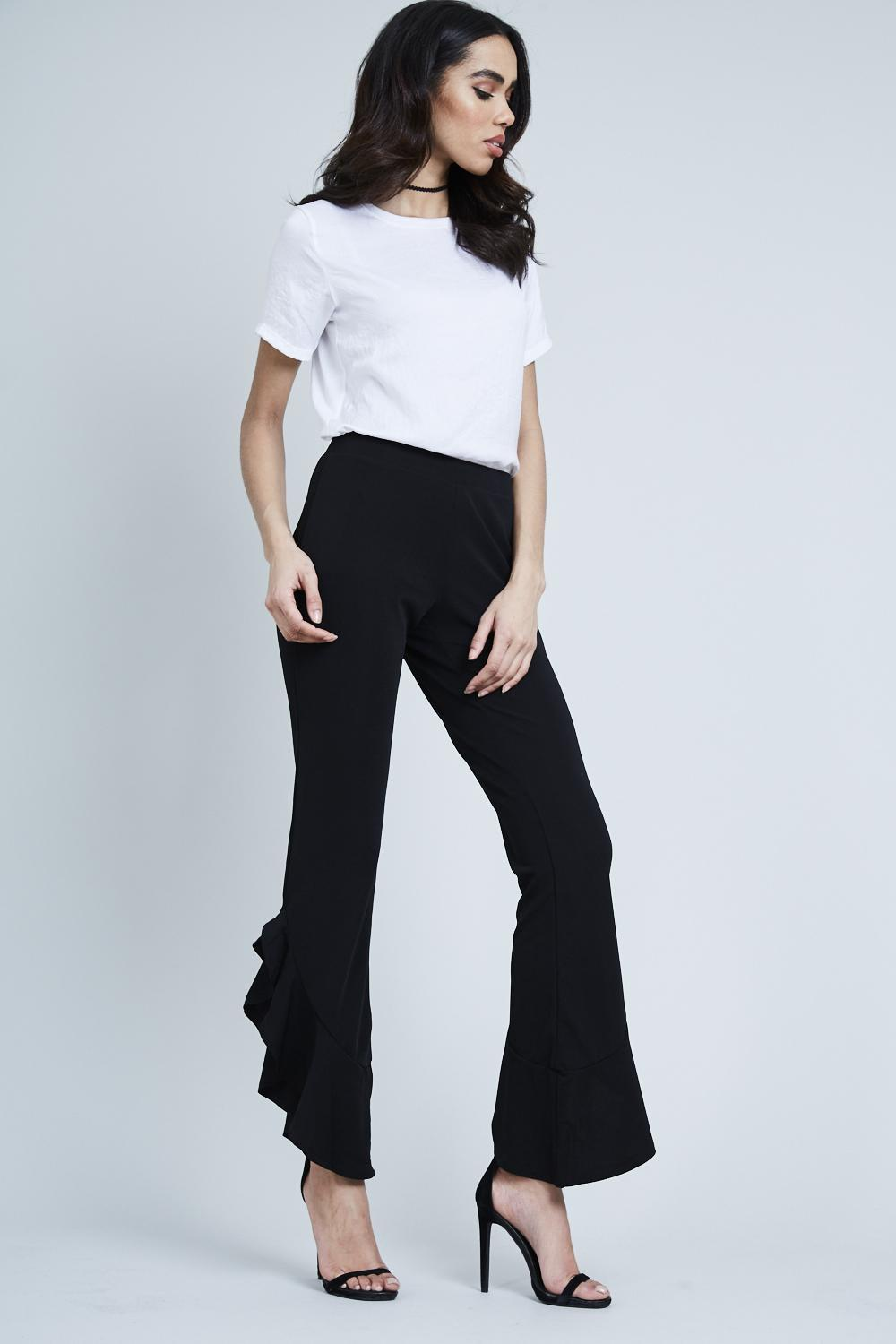 Ruffle Bottom Stretch Trousers