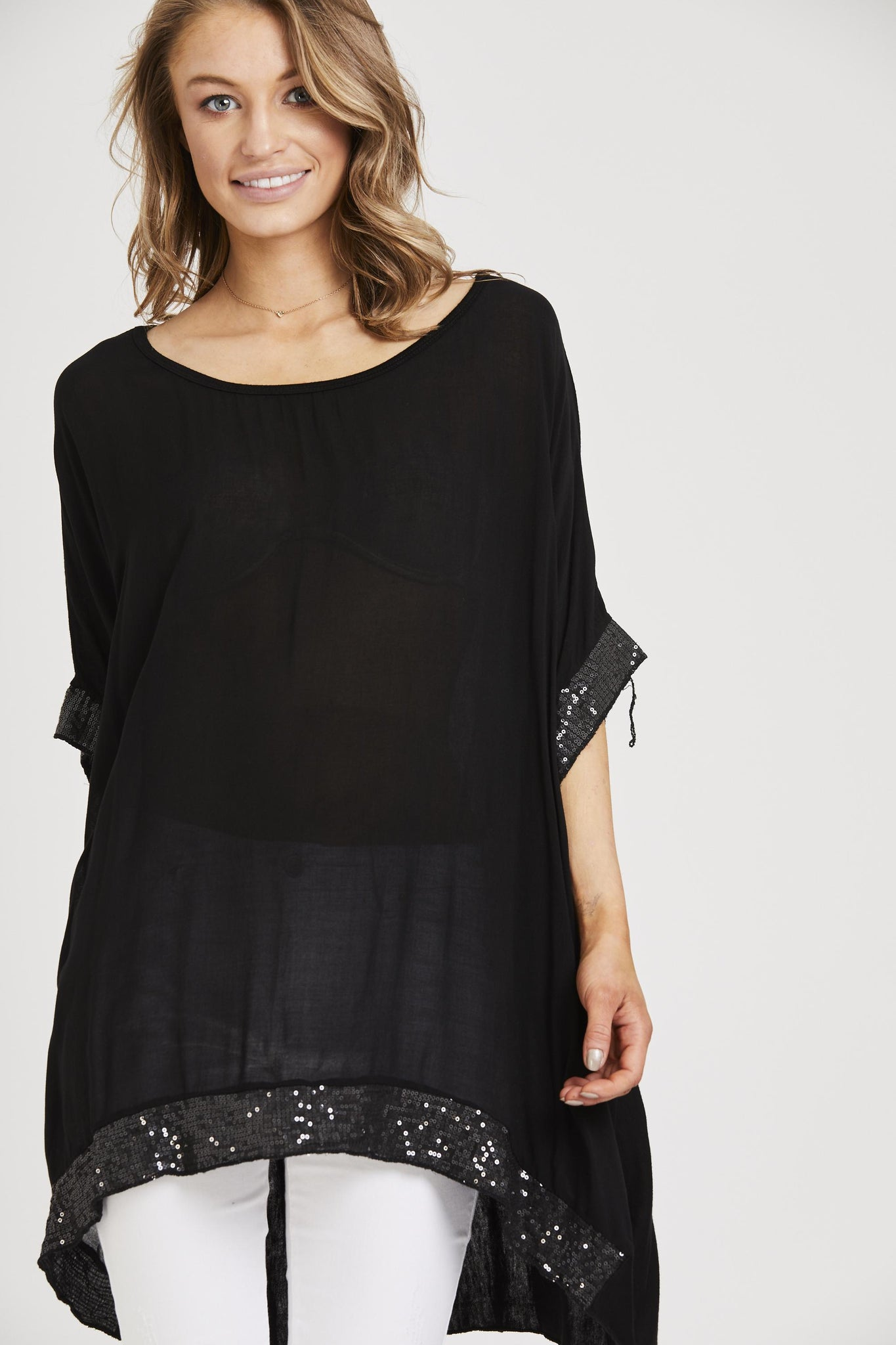 Sequin Trim Baggy Top