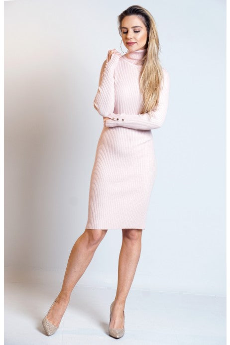 Sharon Ribbed Turtle Neck Knitted Bodycon Dress