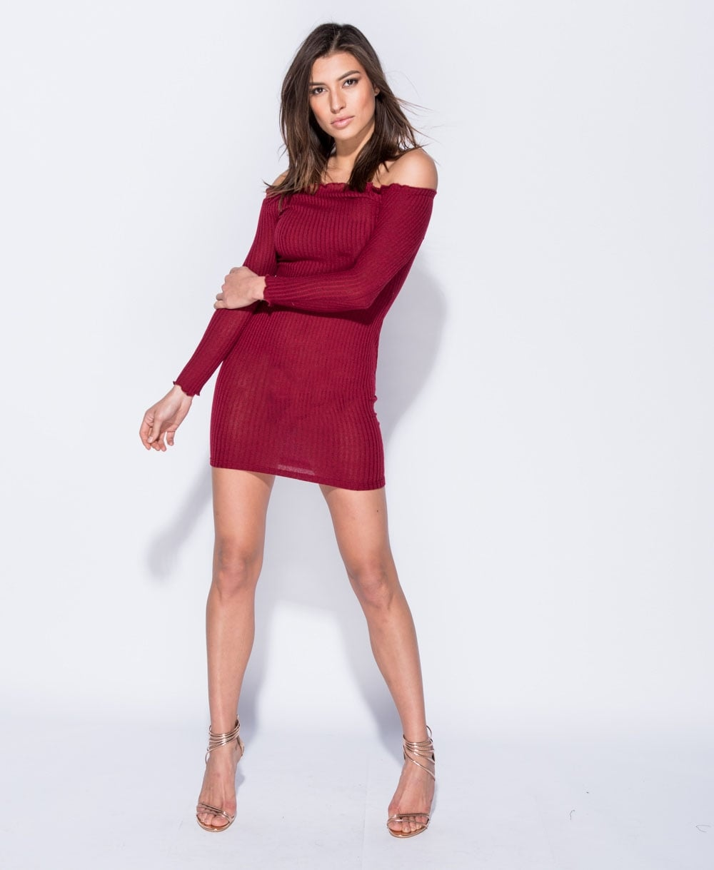 Skinny Rib Bardot Bodycon Dress