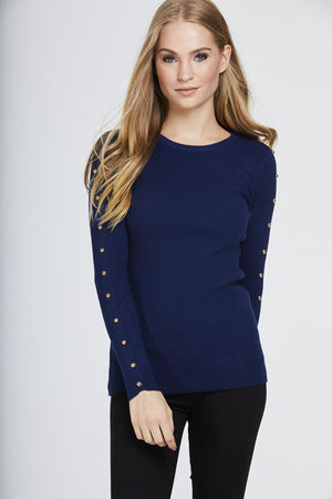Studded Sleeve Ribbed Top