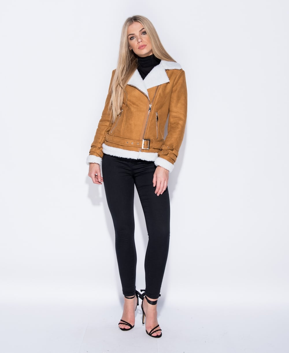 Suedette Faux Fur Trim Aviator Jacket