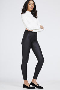 Super Skinny High Waist Leather Look Trousers