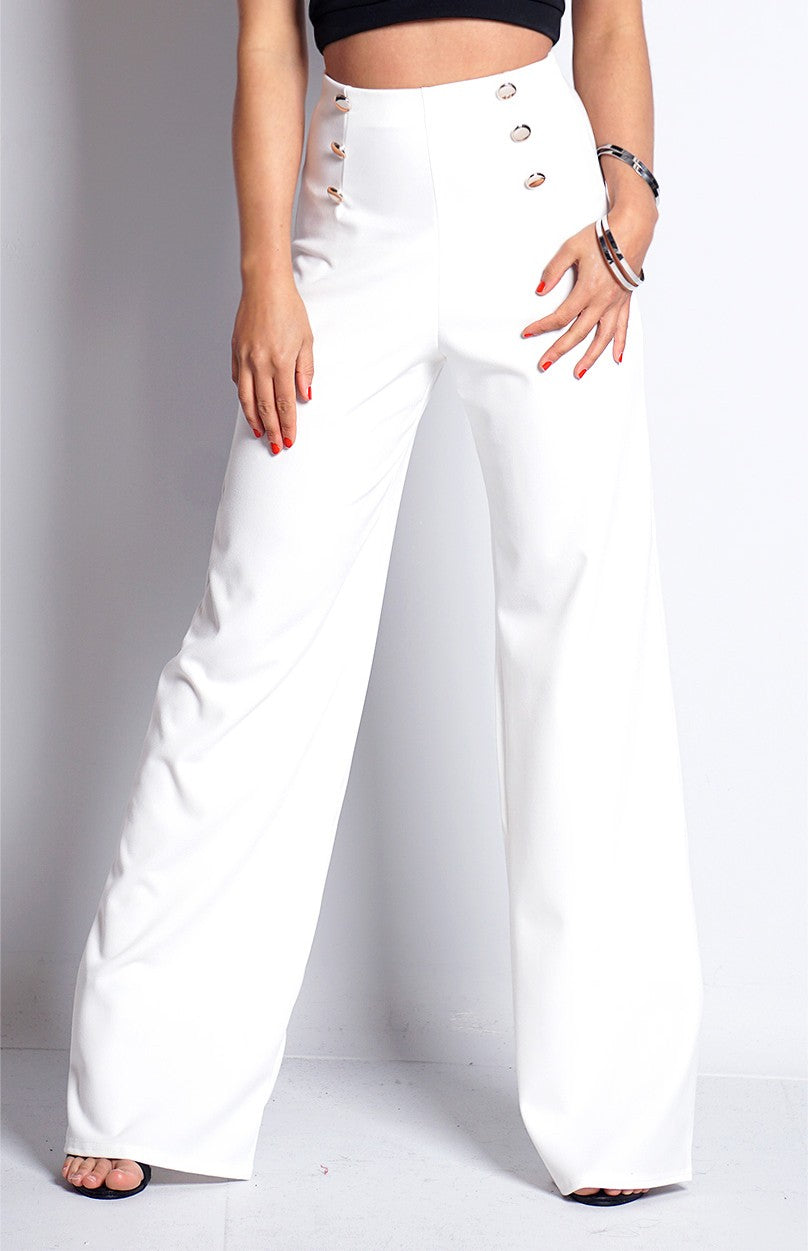 Alexis Button Detail Wide Leg Trousers