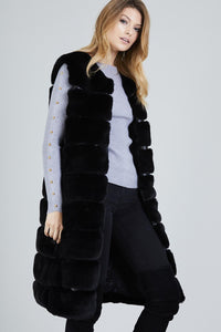 Two Pocket Panelled Longline Faux Fur Gillet