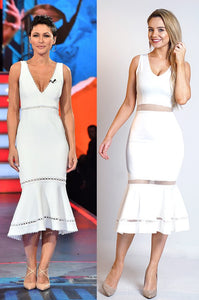 Emma Willis Celebrity Inspired Ivory Fishtail Dress