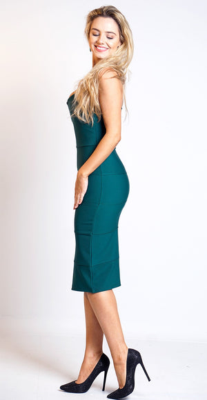 Zula Bottle Plunge 'V' Neck Sleeveless Bandage Bodycon Dress