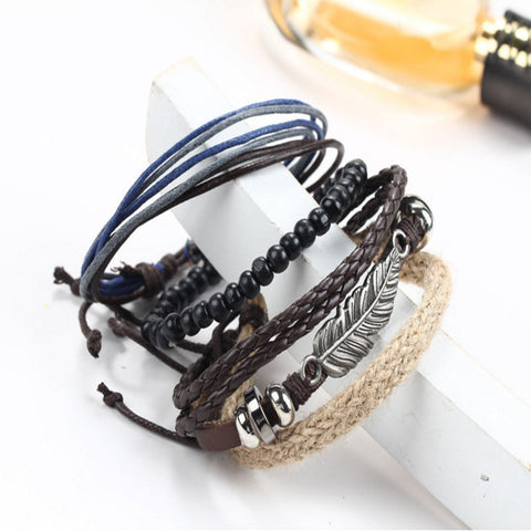 Men's Braided Leather Stainless Steel Cuff Bangle Bracelet (Multi-Layer)